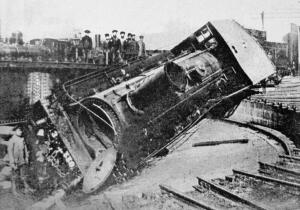 (1905 Russian Revolution) A train overturned by striking workers at the main railway depot in Tiflis
