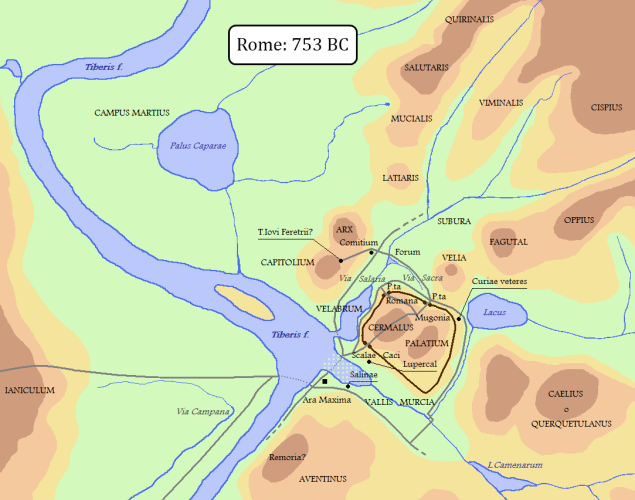 A map of Rome in 753 BC