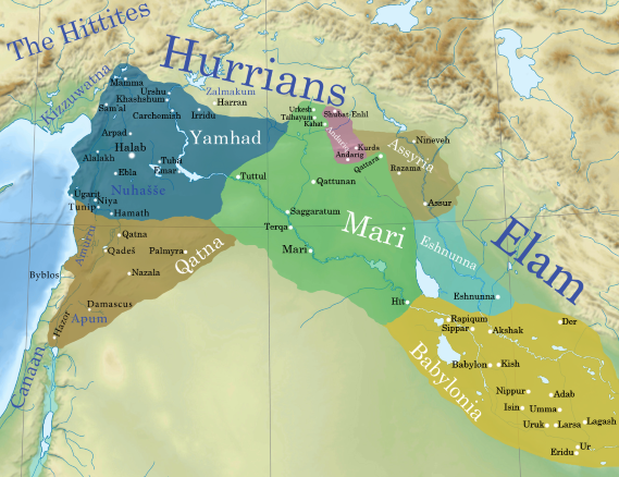A map of the Ancient Near East showing the geopolitical situation around the Old Assyrian Empire