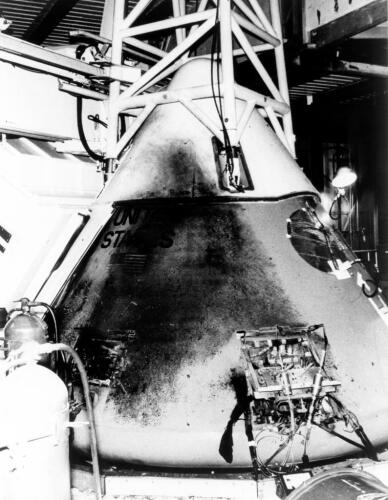 Apollo 1's Command Module a day after the fire - image