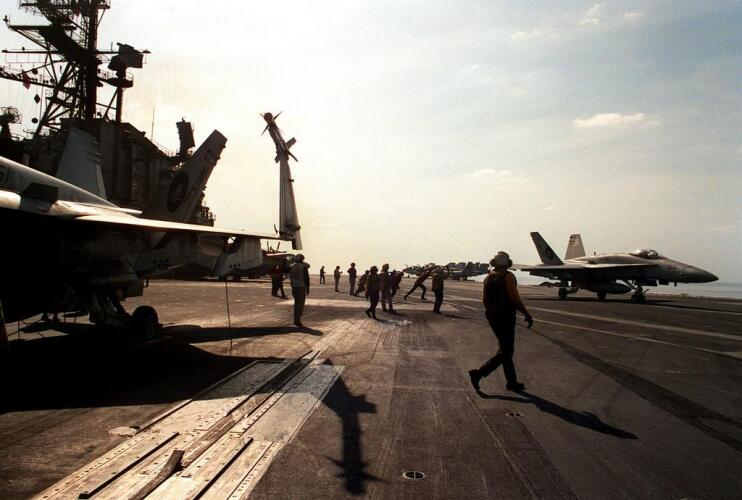 Flight operations during Operation Desert Shield aboard USS Midway Image