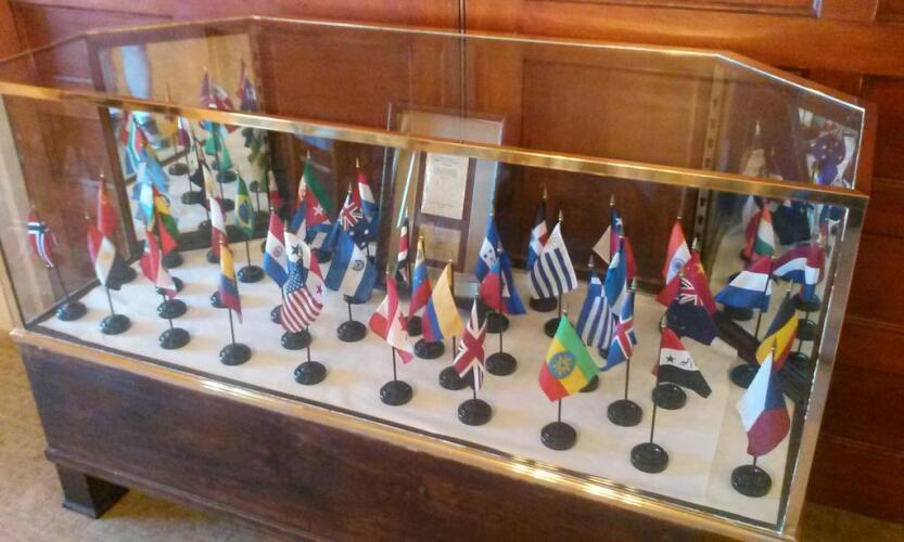 Gold Room Bretton Woods Participating Nations Display Case - Bretton Woods Conference