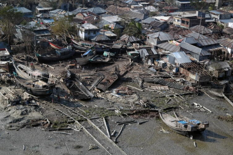 Houses damaged by the cyclone 2007
