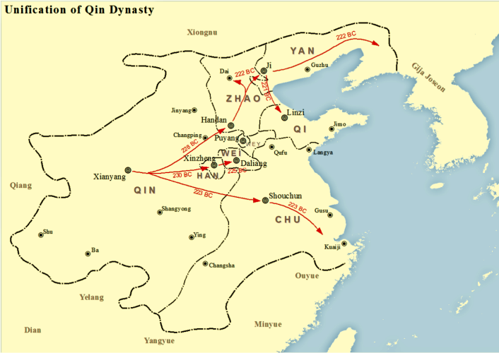 Map of Qin unification