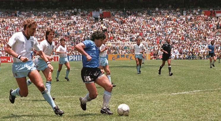 "Maradona right before scoring the ""Goal of the Century"" against England"