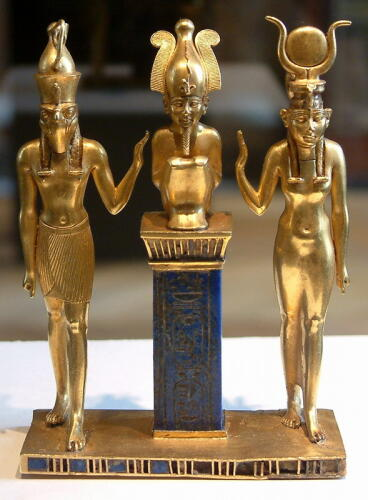 Pendant bearing the cartouche of Osorkon II seated King Osorkon flanked by Horus and Isis