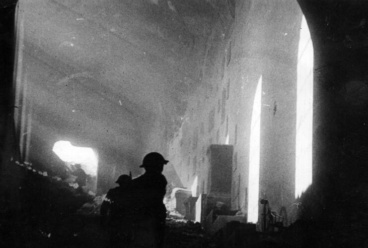 Polish soldiers inside the ruined Monte Cassino Monastery