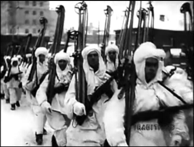 Red Army ski troops in Moscow. Still from documentary Moscow Strikes Back, 1942