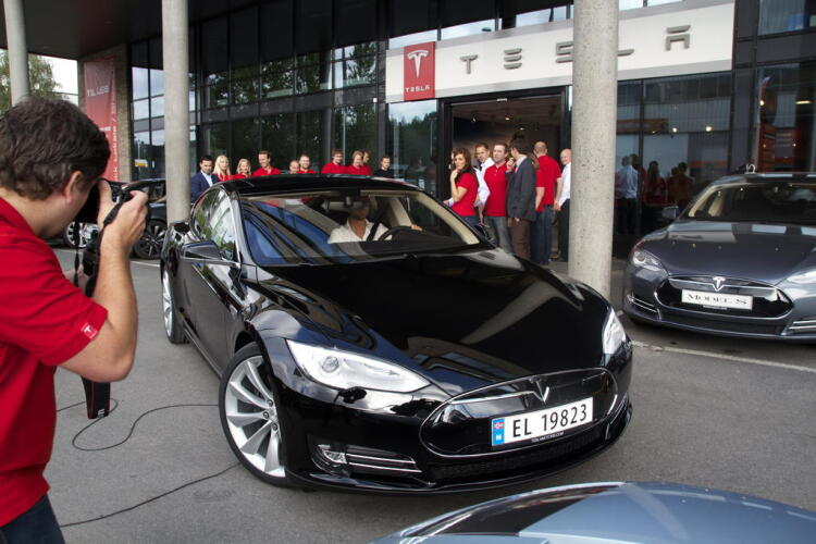 Tesla Model S in Oslo, Norway, at the event organized by Tesla Motors to make the first European deliveries - image
