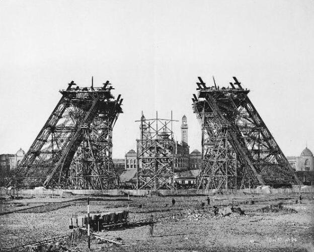 The Eiffel Tower still under construction