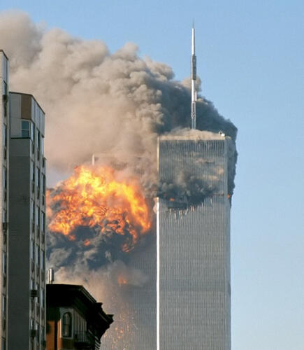 The north face of Two World Trade Center (United Airlines Flight 175)