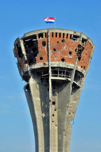 Vukovar water tower during the Battle of Vukovar - image